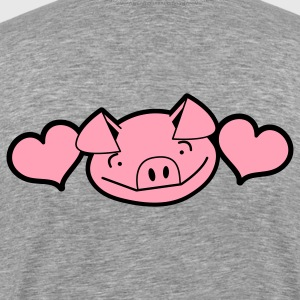 Ash  little piggy face cute with love hearts farm T-Shirts - Men's Premium T-Shirt