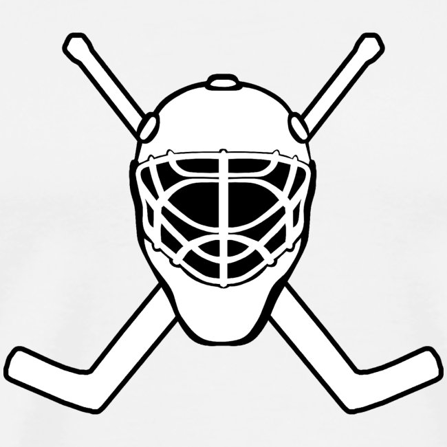 Pauls Designs Jolly Roger Hockey Goalie White Mens Premium T Shirt
