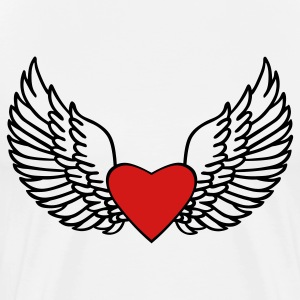 White Heart and Wings T-Shirts - Men's Premium T-Shirt