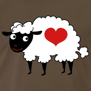 Brown sheep with love heart T-Shirts - Men's Premium T-Shirt
