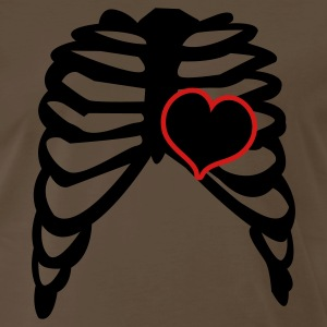 Brown rib cage with love heart T-Shirts - Men's Premium T-Shirt