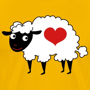 Gold sheep with love heart T-Shirts - Men's Premium T-Shirt