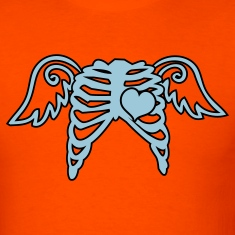 Orange rib cage angel wings and love heart T-Shirts