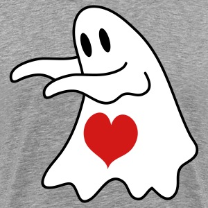 Heather grey ghost with love heart T-Shirts - Men's Premium T-Shirt