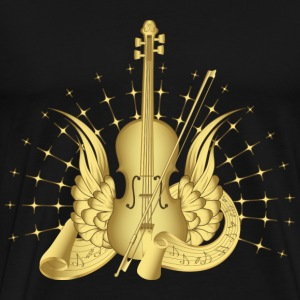 Black Golden Winged Violin T-Shirts - Men's Premium T-Shirt
