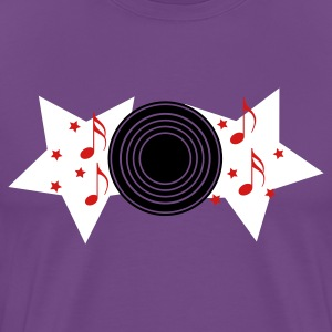 Purple record with musical notes and stars  T-Shirts - Men's Premium T-Shirt
