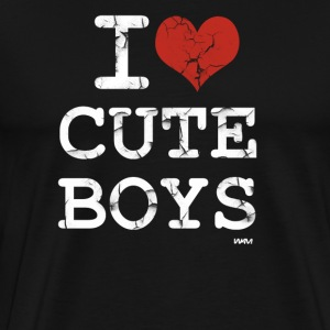 Black i love cute boys vintage white by wam T-Shirts - Men's Premium T-Shirt