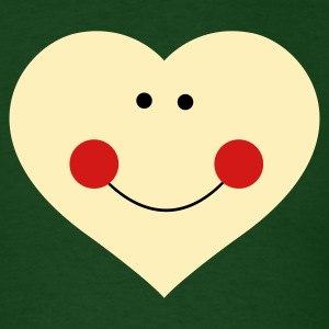Forest green smiley heart with cute face T-Shirts - Men's T-Shirt