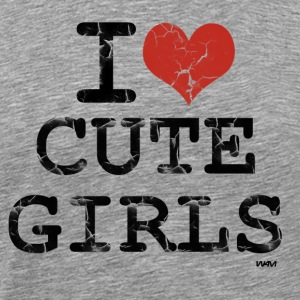 Heather grey i love cute girls vintage by wam T-Shirts - Men's Premium T-Shirt