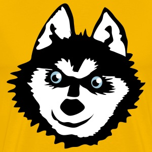 Gold Siberian husky face with a huge smile cute! T-Shirts - Men's Premium T-Shirt