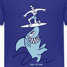 Turquoise Shark Powered Surfing Kids' Shirts
