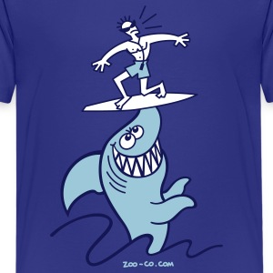 Turquoise Shark Powered Surfing Kids' Shirts - Kids' Premium T-Shirt