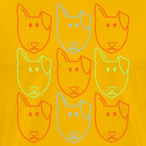 Gold nine dogs andy warhol style T-Shirts - Men's Premium T-Shirt