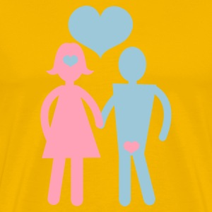 Gold couple holding hands with love hearts T-Shirts - Men's Premium T-Shirt