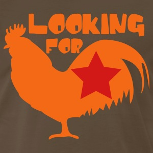 Brown Looking for cock rooster with star T-Shirts - Men's Premium T-Shirt