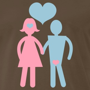 Brown couple holding hands with love hearts T-Shirts - Men's Premium T-Shirt