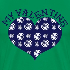 Kelly green MY VALENTINE heart with swirls T-Shirts