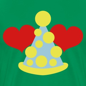 Kelly green cute clown hat with love hearts circus T-Shirts - Men's Premium T-Shirt