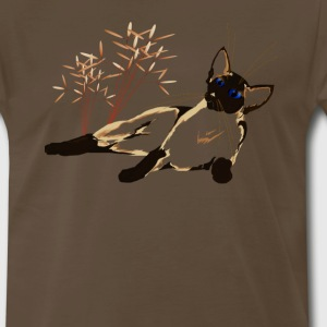 Laid Back Siamese Kitty with Plants - Men's Premium T-Shirt