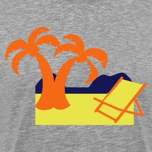 Heather grey tropical holiday with deck chair and coconut palms T-Shirts - Men's Premium T-Shirt