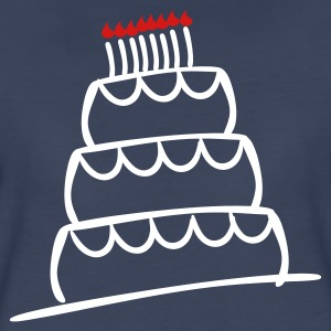 Navy Funky 3-Layer Birthday Cake With Candles And Flames  Plus Size - Women's Premium T-Shirt