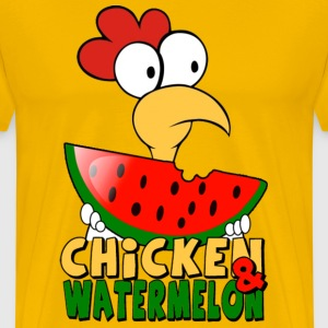 Yellow Chicken & watermelon T-Shirts - Men's Premium T-Shirt