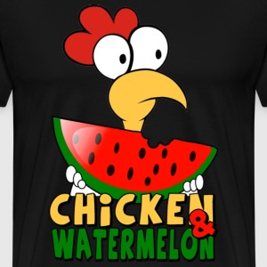 Black Chicken & watermelon T-Shirts - Men's Premium T-Shirt