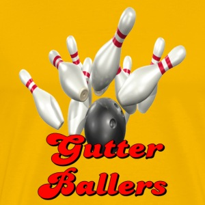 Yellow Bowling Team Gutter Ballers T-Shirts - Men's Premium T-Shirt