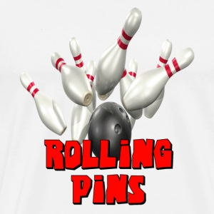 White Bowling Team Rolling Pins T-Shirts - Men's Premium T-Shirt