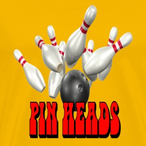 Yellow Bowling Team Pin Heads T-Shirts - Men's Premium T-Shirt