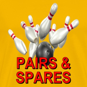 Yellow Bowling Team Pairs & Spares T-Shirts - Men's Premium T-Shirt