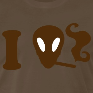 Brown i heart love alien smoking T-Shirts - Men's Premium T-Shirt