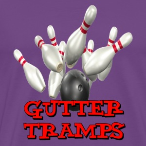 Purple Bowling Team Gutter Tramps T-Shirts - Men's Premium T-Shirt