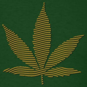 Forest green Cannabis Leaf (stripes, 2colors) T-Shirts - Men's T-Shirt
