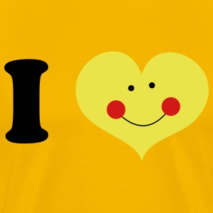 Gold i heart with cute smile and rosy cheeks T-Shirts - Men's Premium T-Shirt