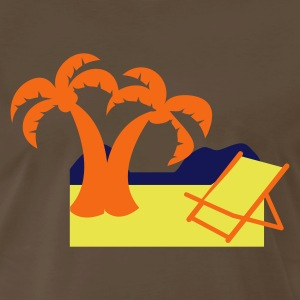 Brown tropical holiday with deck chair and coconut palms T-Shirts - Men's Premium T-Shirt