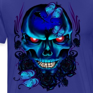Butterflies and Roses Black Skull - Men's Premium T-Shirt