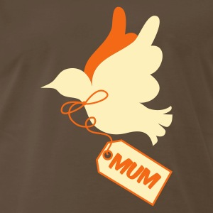 Brown mothers day peace dove with tag saying mum T-Shirts - Men's Premium T-Shirt