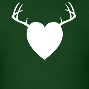 Forest green HEART ANTLERS T-Shirts - Men's T-Shirt