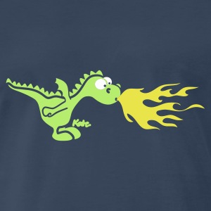 Navy Fire Dragon (c) T-Shirts - Men's Premium T-Shirt