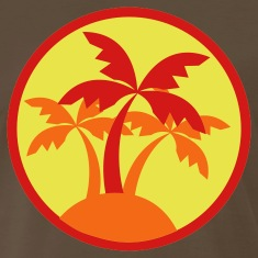 Brown palm trees in a circle travel island on a beach ! T-Shirts