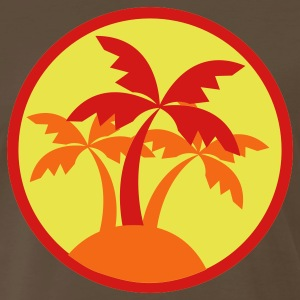 Brown palm trees in a circle travel island on a beach ! T-Shirts - Men's Premium T-Shirt