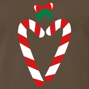 Brown beautiful christmas candy canes in love heart with a bow T-Shirts - Men's Premium T-Shirt