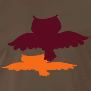 Brown owl flying with shadow T-Shirts - Men's Premium T-Shirt