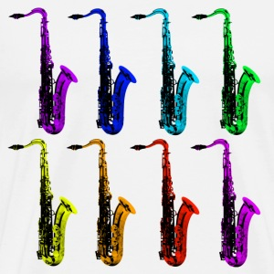 colored saxophones - Men's Premium T-Shirt