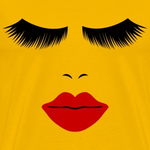 Yellow Fashion Face Silhouette, Red Lips, Lashes--DIGITAL DIRECT ONLY! T-Shirts - Men's Premium T-Shirt
