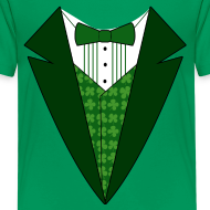 Design ~ Kids Irish Tuxedo T-Shirt, Green St Patricks Day Tuxedo Shirt