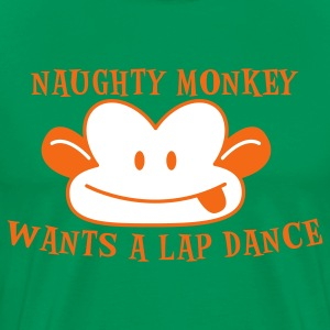 Forest green RUDE naughty monkey wants a lap dance T-Shirts - Men's Premium T-Shirt