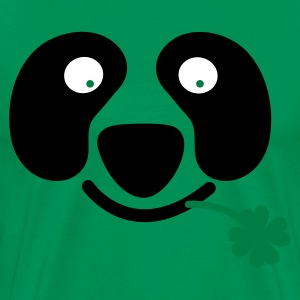 Forest green cute irish panda with clover leaf St Patricks Day T-Shirts - Men's Premium T-Shirt