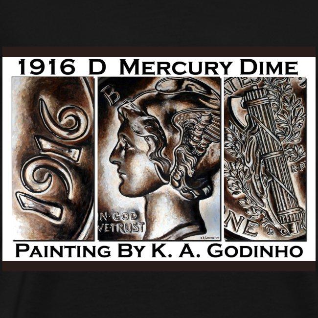1916 D Mercury Dime Men's Black T-Shirt
